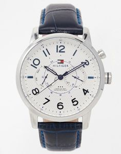 Shop Tommy Hilfiger Calan Multi Eye Leather Strap Watch 1791085 at ASOS. Tommy Hilfiger, Asos Uk, Real Leather, Crocs, Fashion Online, Watches, Eye, Accessories, Shopping