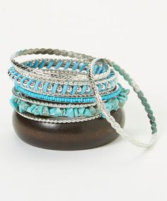 Look what I found on #zulily! Turquoise & Silver Bangle Set #zulilyfinds