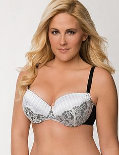 Pleated satin and fringed lace come together for a pop of sexy contrast on this decadent demi bra. The demi silhouette is a favorite for its uplifting support and natural shaping, featuring molded underwire cups, adjustable straps and a sheer mesh back closure. #LaneBryant #Cacique