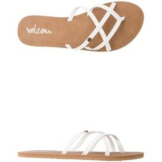 Volcom New School Sandal ($25) ❤ liked on Polyvore featuring shoes, sandals, white, volcom, volcom footwear, cross strap sandals, white shoes and white sandals