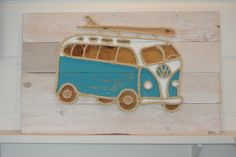 Turquoise VW surf bus by M Street Artwork.
