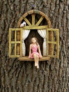 Window with sitting GIRL no wings  bird  miniature garden