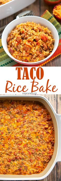 Taco Rice Bake loaded with taco meat beans Rotel cheese and rice. Its a full meal in one dish! We like to top the casserole with our favorite taco toppings cheese sour cream jalapeños and guacamole! This a great change to our usual taco night! Pasta Casserole, Casserole Recipes, Taco Casserole With Rice, Casseroles With Rice, Rice Bake Recipes, Pasta Recipes, Chicken Recipes, Mexican Food Recipes, Dinner Recipes