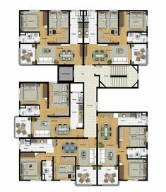 Concept Board Architecture, Architecture Plan, Residential Architecture, Duplex House Plans, Apartment Floor Plans, House Floor Plans, Sims House Design, Condo Design, Building Layout