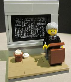 Albert Einstein minifig scene by Flickr user Etzel87.