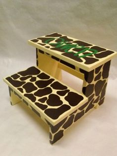 Children's Step Stool giraffe with name by wouldknots on Etsy, $40.00