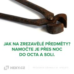 Jak na zrezavělé předměty? Namočte je přes noc do octa a soli Useful Life Hacks, Tools And Equipment, Hand Tools, Good Things, Cleaning, Board, Sign, Planks, Tray