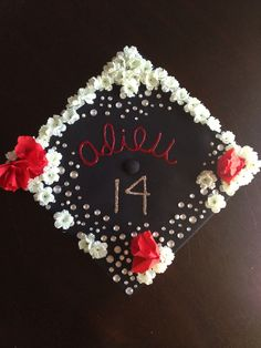 Graduation Cap Idea Flowers French gem stones