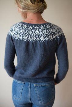 Ravelry: Lotusblomstkofte / Lotus flower jacket pattern by Marianne J. Fair Isle Knitting Patterns, Knitting Machine Patterns, Knitting Designs, Fair Isle Pattern, Drops Design, Icelandic Sweaters, Crochet Wool, Sustainable Clothing, Jacket Pattern