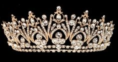 Elegant Gold Rhinestone Bridal and Quinceanera Tiara - Affordable Elegance Bridal -