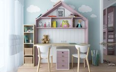 pink-and-blue theme for kids room