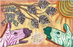 Change Your Stripes - Art Journaling January with Milliande Day 5-Paint a Zebra Hand ala Guido Daniele by Marilyn