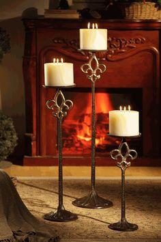 Fleur de Lis Floor Candle Holders for Short Pillar Candles ᘡղbᘠ
