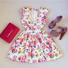 COLORFULL FLORAL DRESS, RED CLUTCH AND YELLOW BUBBLE NECKLACE