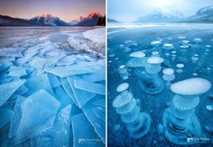 Lake McDonald In Montana, USA (left) Abraham Lake In Canada (right) - 18 Beautiful Frozen Lakes, Oceans And Ponds That Resemble Fine Art Lago Mcdonald, Lago Baikal, Lake Michigan, Frozen Bubbles, Bel Art, Kalter Winter, Ice Sculptures, Snow And Ice, Best Artist