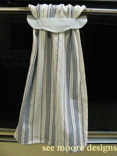 Hanging Towel Tutorial - Wouldn't this be cute as kitchen curtains. Then it wold be ok to dry your hands on them!