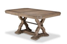 Traditional Style Desert Sand Finish Extendable Rectangular Dining Table
