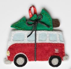 Items similar to Volkswagen bus with christmas tree ornament- pdf pattern on Etsy