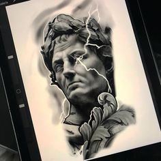 Escultura de Julio César en iPad Pro #diseño tattoo #chile_tattoo #makuzatattoosupply #iPad #procreate #escultura God Tattoos, Forarm Tattoos, Sleeve Tattoos, Zeus Tattoo, Statue Tattoo, Greek God Tattoo, Desenho Tattoo, Tattoo Project, Model Face