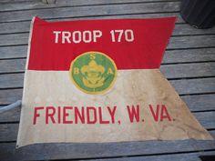 WW2 ERA FRIENDLY  WVA-TROOP 170 FLAG- 4 1/3 foot x 5 1/2 foot