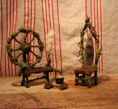 Faery chair Gothic miniature in natural materials by pandorajane, $28.00