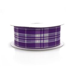 Plaid Checkered Metallic Wired Ribbon, 1-1/2-inch, 10-yard, Purple