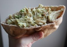 Avocado chicken salad sandwich.   Im sure you can put this on amy bread. this would proably be good for parties.