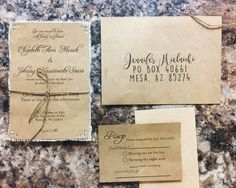 Kraft Wedding Invitations with jute twine on ivory by Rusticpapers