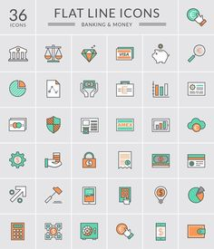 Flat Banking & Money Icons Vectors