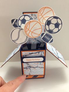 Card In A Box - sports theme www.stampingwithlinda.com Linda Bauwin CARD-iologist Helping you create cards from the heart.