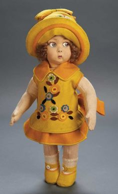 Apples - An Auction of Antique Dolls: 76.1 Italian Felt Character Girl,Series 159,by Lenci in Original Costume
