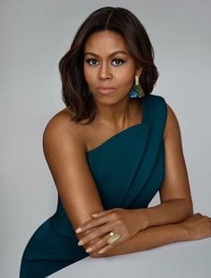 Michelle Obama in Brandon Maxwell dress and Kathleen Whitaker jewelry.