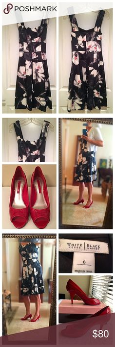 ‼️SALE‼️Gorgeous WHBM Sundress!🌻 Gorgeous sundress by WHBM! A-line, fit and flare style. Black with big, white flowers with a touch of red! Silky/satiny feeling material gives a slenderizing touch! Pair it up with red pumps (sold separately) and you're good to go! 🌸 White House Black Market Dresses Midi