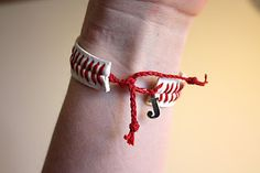 By Studio 13 - Baseball String Bracelet with Monogram Charms
