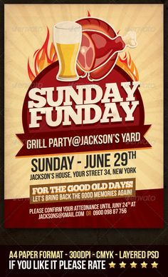 Buy Sunday Funday Grill Party Flyer by dodimir on GraphicRiver. If you're planning grill party in your yard, on the beach, or anything similar, this flyer template is great pick fo. Magazine Design, Grill Party, Music Flyer, Beer Poster, Promotional Flyers, Event Flyers, Print Templates, Poster Templates, Logo Food