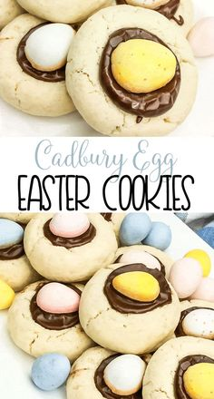 Cadbury Egg Easter Cookies Spring Cookie Recipe A Delicious Sugar Cookie Filled With Chocolate And A Cadbury Egg Via Domesticallyspeaking No Egg Cookie Recipe, Easter Cookie Recipes, No Egg Cookies, Easter Cookies, Cookies Et Biscuits, Easter Treats, Summer Cookies, Christmas Cookies, Baby Cookies