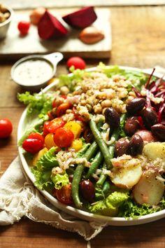 Vegan Nicoise Salad | Minimalist Baker Recipes olives->grapes potatoes->water chestnuts
