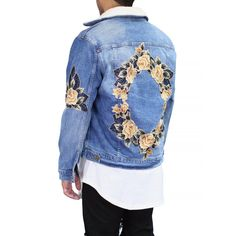 - 14 OZ., 100% Cotton - Floral Embroidered Patches - Premium Sherpa lining on neck Fabric Origin: Los Angeles Model is 5'9, 165 lbs, wearing a size M.