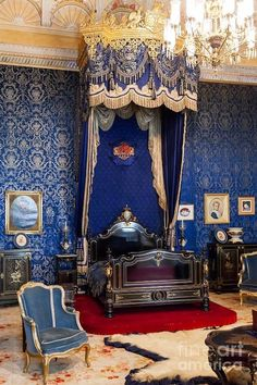 Queen's room In the Ajuda Palace. Heritage luxury. Portugal