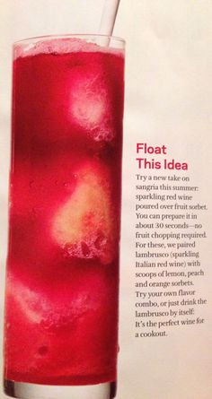 Sangria Float using Fruit Sorbet ... from Food Network Magazine