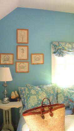 all blue - toile and paint in this east hampton beach house  Tamara Stephenson Interior Design