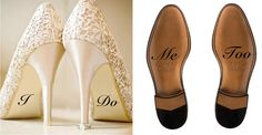Custom Wedding Shoe Decal Bride and Groom, I Do and Me Too Shoe Decal, Wedding Decorations, Shoe Decal