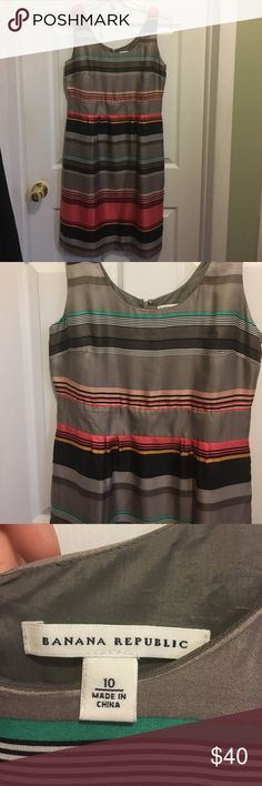 Banana Republic Striped Sheath Silk Dress 10 Excellent condition, never worn but no tags.  The back stitch is still in it for the slit.  Size 10. Gray coral teal pink navy Banana Republic Dresses Midi