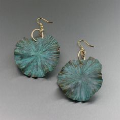 I Love Copper Jewelry • Apple Green Patinated Copper Lily Pad Earrings If...