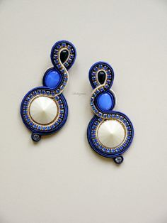 #soutache #earrings #denim #cobalt #black #preciosa #www.ludozerna.com