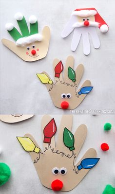 christmas crafts videos CHRISTMAS HANDPRINT CARDS - easy to make Christmas handprint crafts! Make a handprint Christmas card. Choose from a reindeer, santa or elf! Christmas Handprint Crafts, Christmas Activities, Christmas Crafts For Kids, Xmas Crafts, Halloween Crafts, Christmas Diy, Reindeer Handprint, Snowman Crafts, Making Christmas Decorations