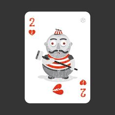 I love this little character on the 2 of Hearts, created by Italian graphic designer Andreas Trenker [http://andreastrenker.blogspot.com/]