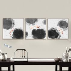 Modern Abstract Oriental Chinese Ink Fish Canvas Print Poster Triptych Wall Art Picture Painting No Frame Vintage Home Decor