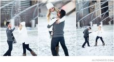 fun photos playing in the snow. must do for engagements.  | Chicago engagement photos idea | Chicago engagement photos | Millennium Park engagement | Jill Tiongco Photography