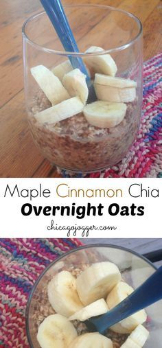 Maple Cinnamon Chia Overnight Oats - a clean eating breakfast recipe for fall | chicagojogger.com
